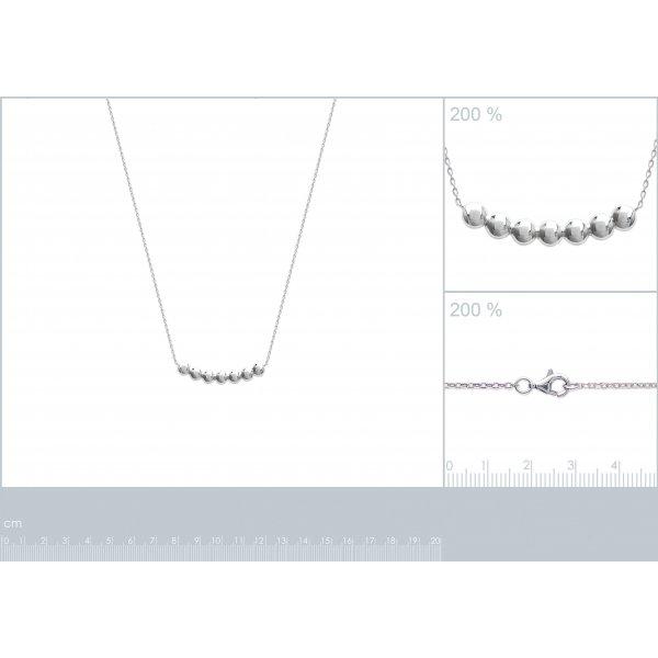 Collier bulles Punto Argent Massif Rhodié - Femme - 45cm