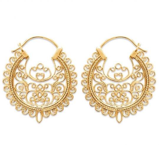 Hoop Earrings savoyardes 30mm Gold plated 18k - Earrings...
