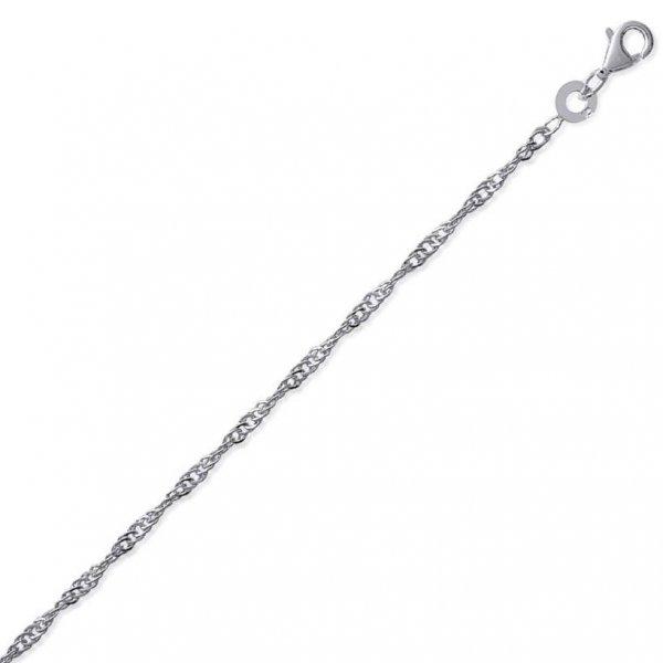 Bracelet chaîne Singapour Argent Massif Rhodié - Femme - 23cm