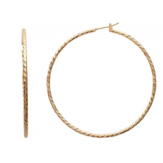 Grandes Hoop Earrings Torsadées 60mm Gold plated 18k - Women