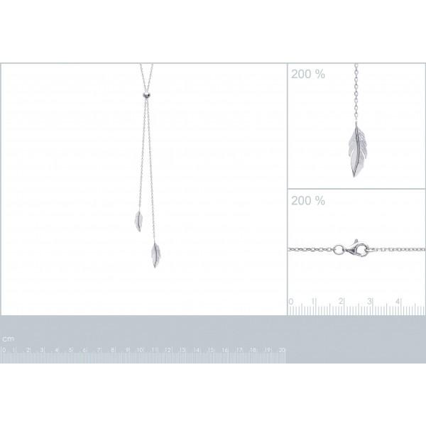 Collana en Y Piumas Argento Sterling 925 Rodiato - Donna - 60cm