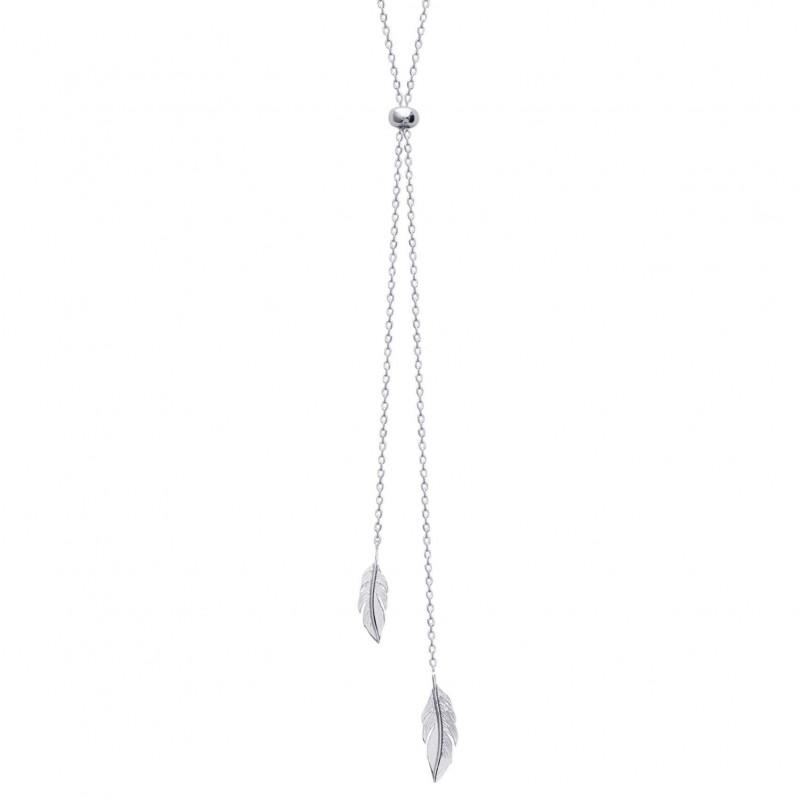 Collar en Y Plumas Plata de Ley Rodiada - Mujer - 60cm