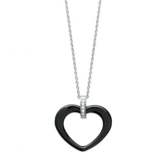 Collier Coeur noir céramique Acier 316L - Femme - 45cm