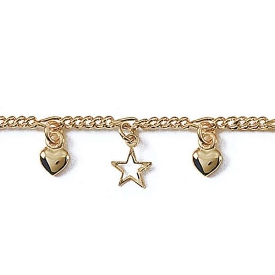 Bracelet Breloques étoiles & Coeur Plaqué Or - Femme - 18cm