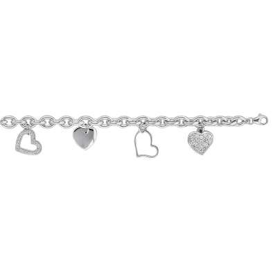 Bracelet Breloques coeur Argent Rhodié - Oxyde de Zirconium - 19cm