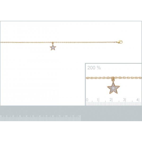 Chaîne de cheville étoile Plaqué Or - Oxyde de Zirconium - 25cm