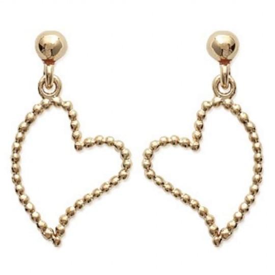 Pendientes Corazón perlé Chapado en Oro 18K - Mujer