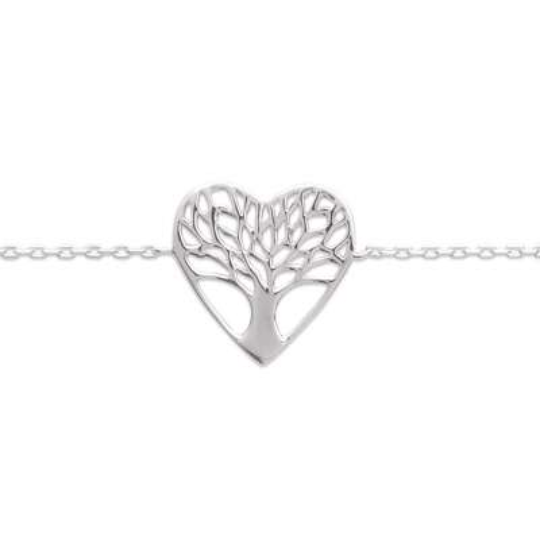 Bracciale Cuore arbre de vie Argento Sterling 925 Rodiato...