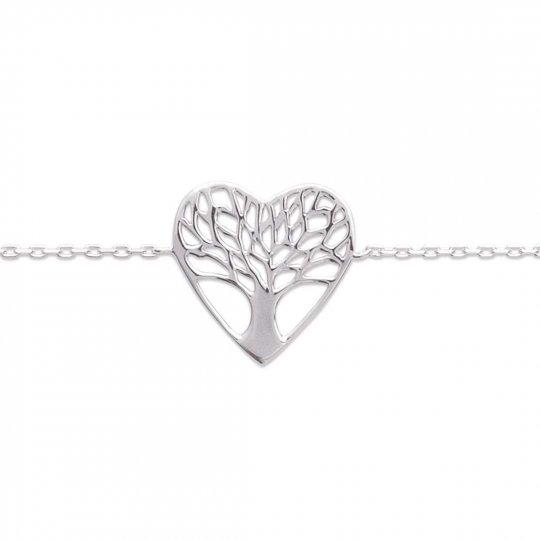 Bracelet Coeur arbre de vie Argent Massif Rhodié - 16/18cm