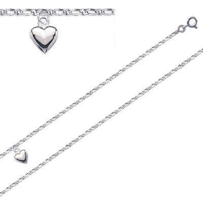 Anklet Heart  Rhodium plated Sterling Silver - Women - 25cm