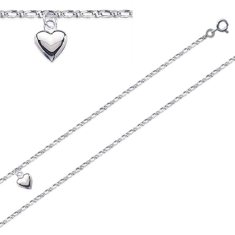 Fußkettchen Herz 925 Sterling Silber rhodiniert - Damen - 25cm