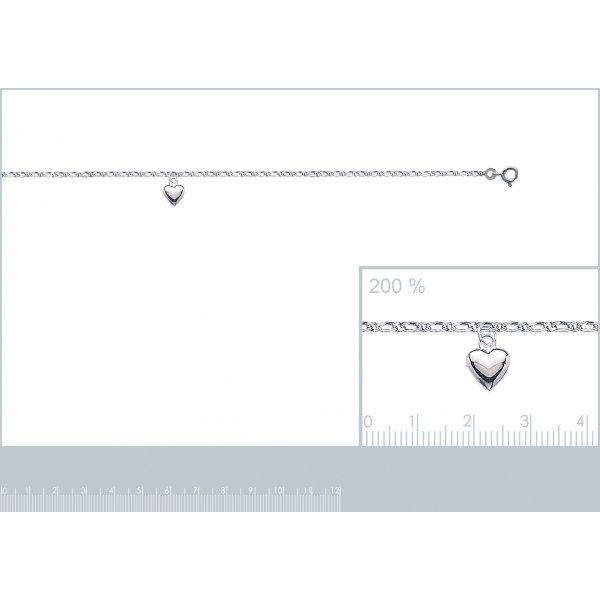Chaîne de cheville coeur Argent Massif Rhodié - Femme - 25cm