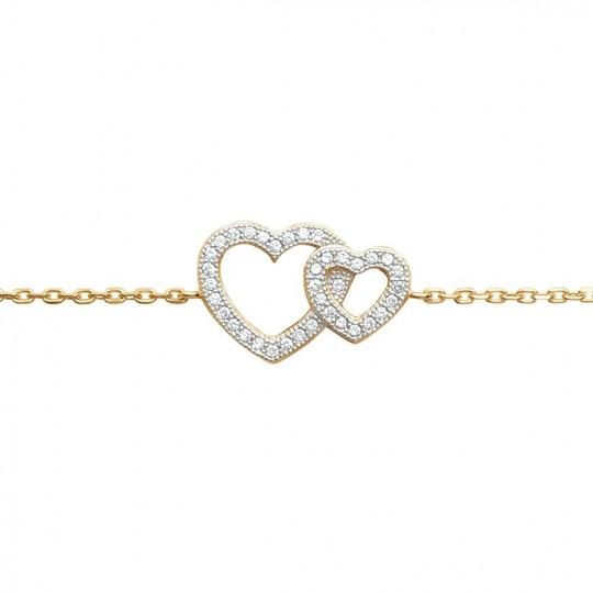 Bracelet coeurs pavés enlacés Plaqué Or - Zirconium - 16/18cm