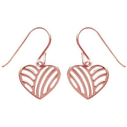 Boucles d'Oreilles Coeur pendant sur crochet Plaqué Or Rose