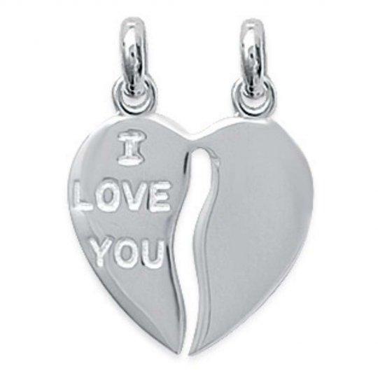 Pendentif Coeur Sécable I LOVE YOU Pour couple Gravable Argent
