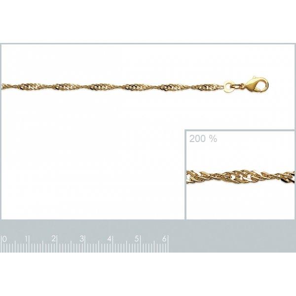 Bracelet chaîne Singapour Plaqué Or - Femme - 18cm