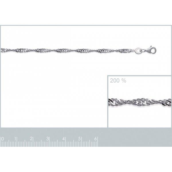 Bracelet chaîne Singapour Argent Massif - Femme - 18cm