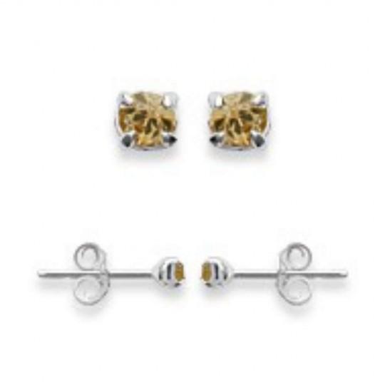 Boucles d'oreilles puces Tiges Argent - Cristal Jaune 2mm - Femme