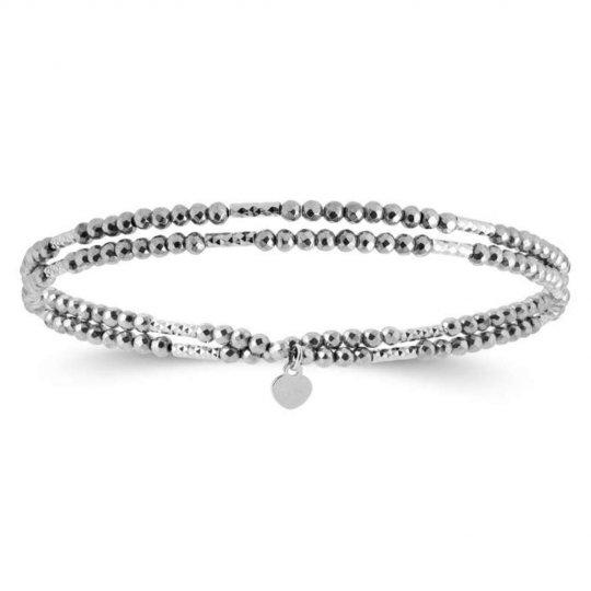 Bracelet 2 tours Hematite Argent rhodié - Homme Femme - 30cm