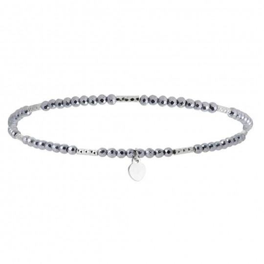 Bracelet Hematite Argent rhodié - Homme Femme - 16cm