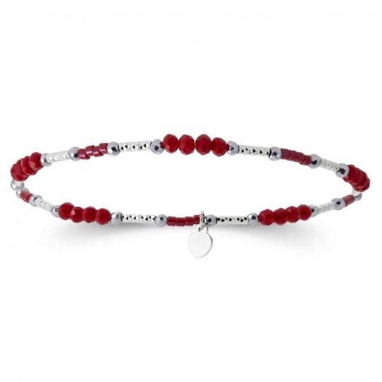 Bracciale cristaux rouges Argent rhodié - Donna - 16cm