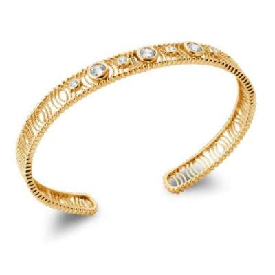 Bangle Ouvert Cubic Zirconia Gold plated 18k - Women - 58mm
