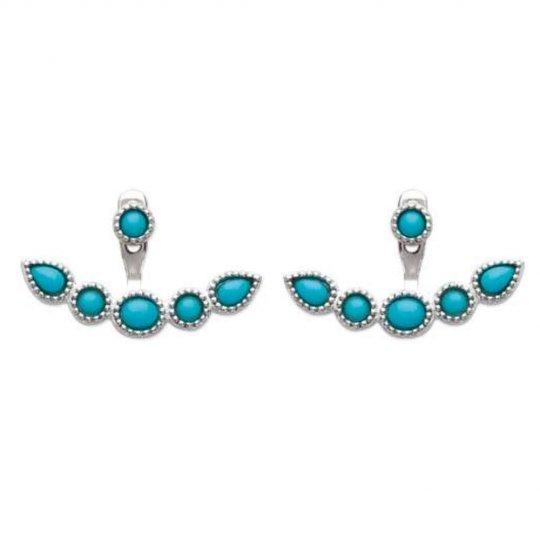 Boucles d'oreilles Pierre d'Imit.Bleue contour lobe Argent - Femme