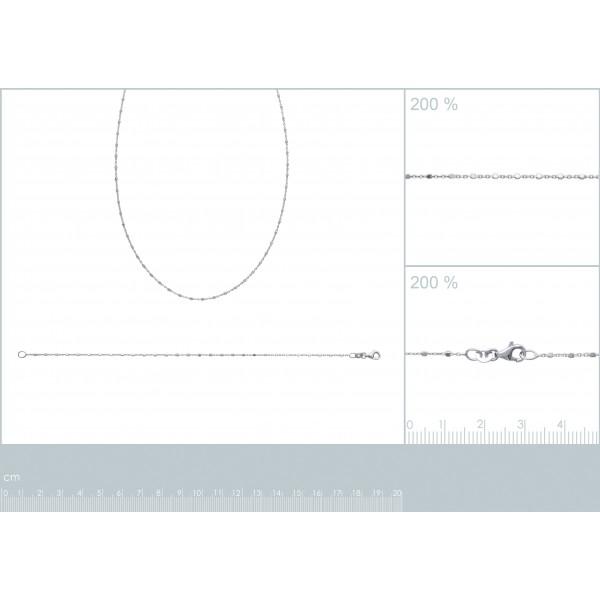 Chaîne de cou Argent Massif Rhodié - - 45cm