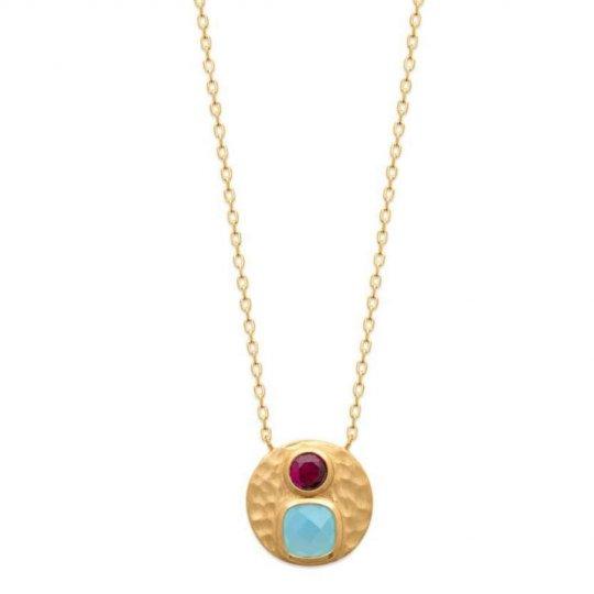 Collier Agate Bleue - pierre d'imit.Rose - Plaqué Or - Femme - 45cm