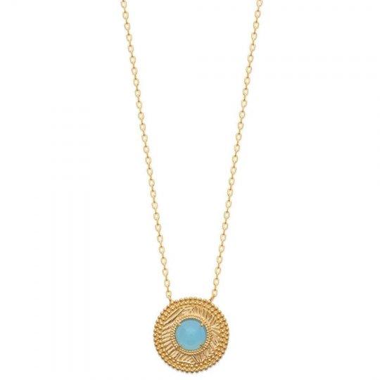 Collier Plaqué Or - Agate Bleue - Femme - 45cm