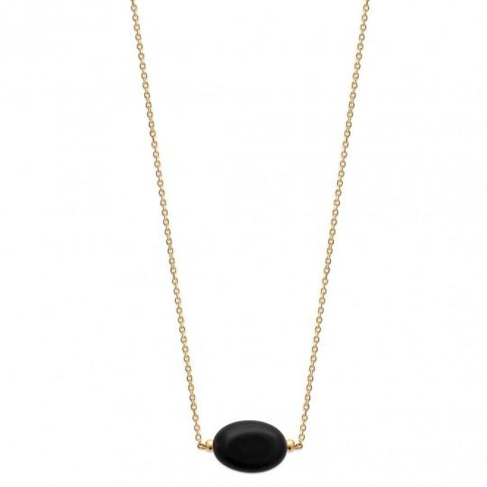 Collier Plaqué Or - Obsidienne Noire - Femme - 45cm