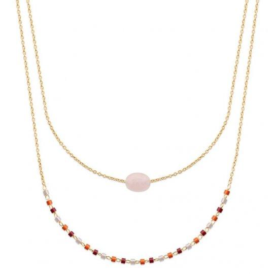 Collier Double Plaqué Or - Quartz Rose & Perles de Miyuki - 45cm