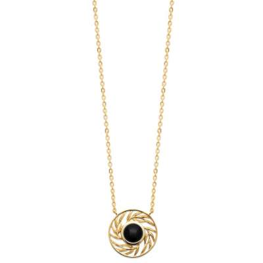 Collier Agate Noire Plaqué Or - Femme - 45cm