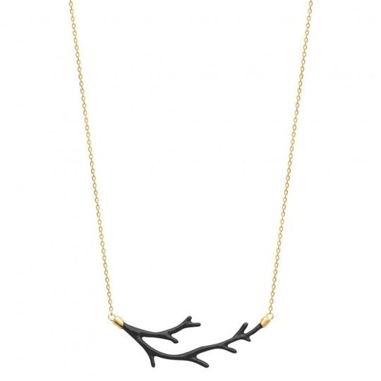 Collier Branche Email Noir Plaqué Or - Femme - 45cm