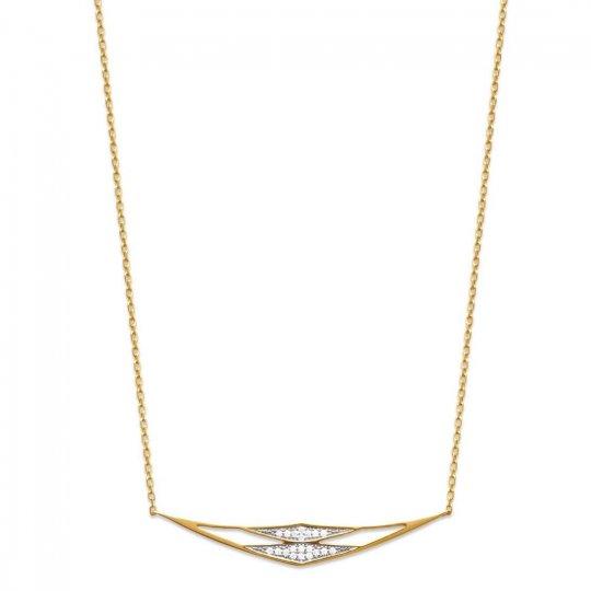 Collier Losange Plaqué Or - Oxyde de Zirconium - Femme - 45cm