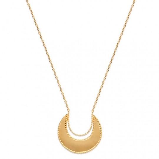 Collier Croissant de lune Plaqué Or - Femme - 45cm