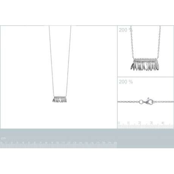 Collana breloques Piumas aztèque Argent - Zirconia Cubica - 45cm