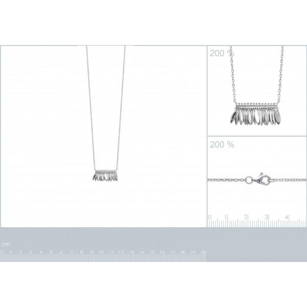 Collier breloques plumes aztèque Argent - Oxyde de zirconium - 45cm