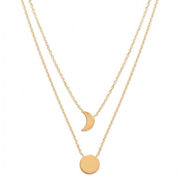 Collier Double croissant de lune & soleil Plaqué Or - Femme - 40cm
