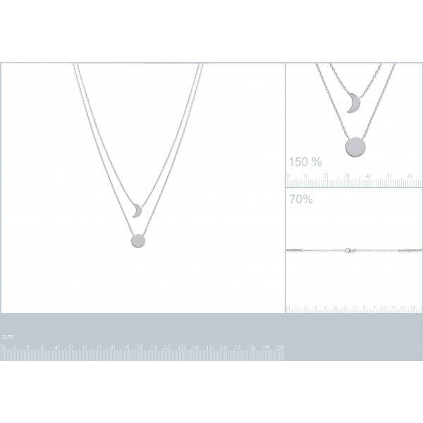 Collana double Luna crescente & soleil Argento Sterling 925 Rodiato - 40cm