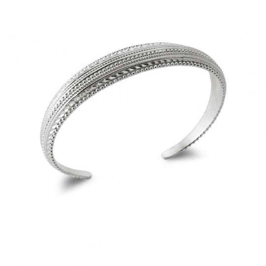 Jonc Ouvert tressé perlé Argent rhodié - Femme - 58mm
