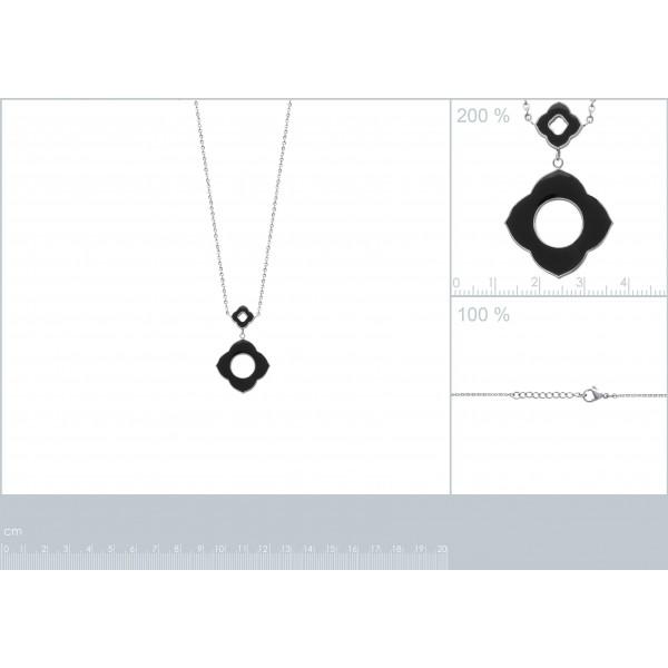Collier fleur noire Acier 316L - Femme - 50cm