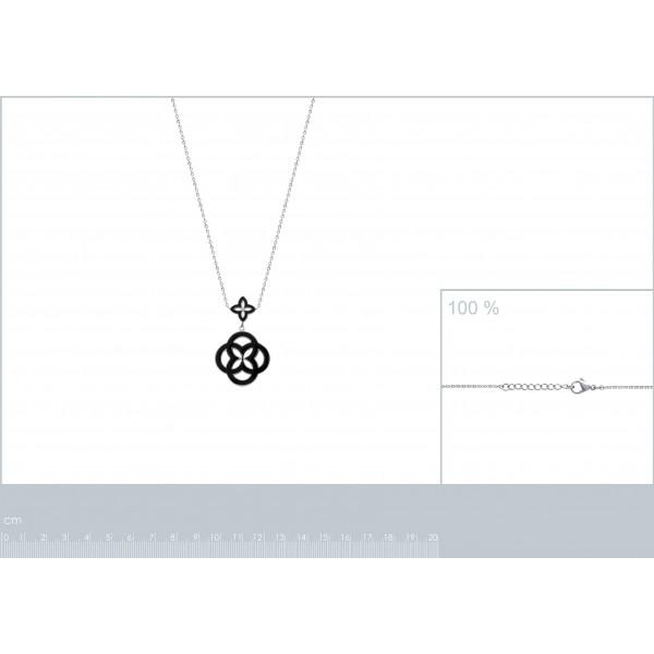 Collier Rosace Noire Acier 316L - Femme - 50cm