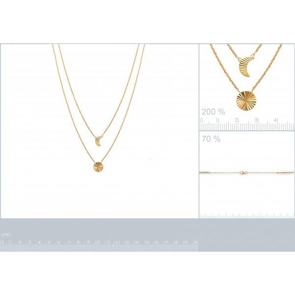 Collana Double Luna crescente et Soleil à reflets Placcato in oro 18k - 45cm