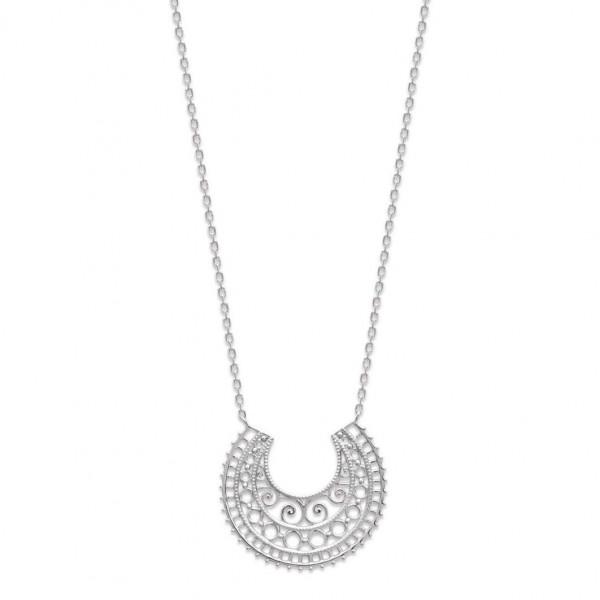 Collier croissant de lune dentelle Séville Argent Rhodié - 45cm