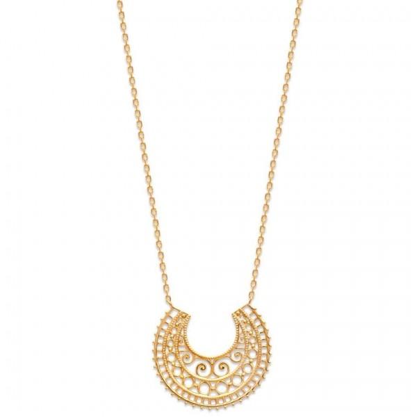 Collier croissant de lune dentelle Séville Plaqué Or - 45cm