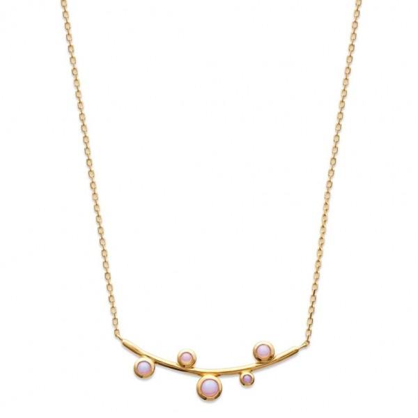 Collier pierres d'imitation roses Plaqué Or - Femme - 45cm