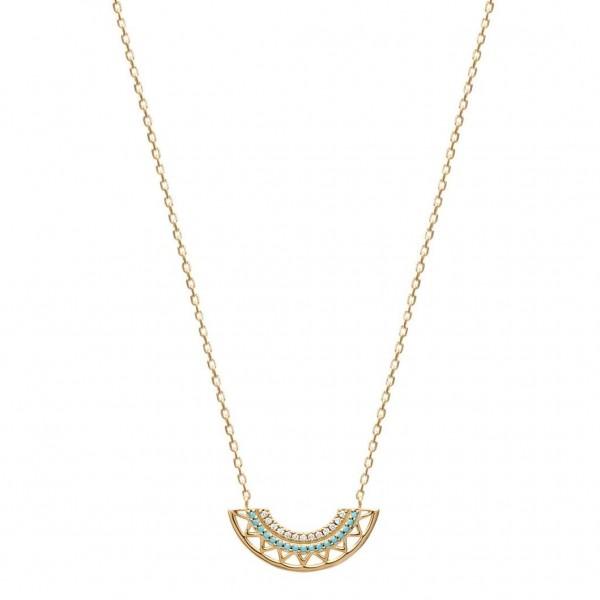 Collana aztèque en arc pierres d'imitation bleues Placcato in oro 18k - 45cm