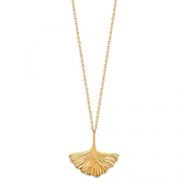 Collier Abricotier d'argent Ginkgo Plaqué Or - Femme - 45cm