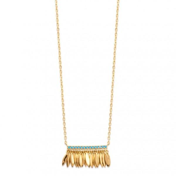 Collier plumes Breloques Plaqué Or Pierres d'imitation bleues - 45cm